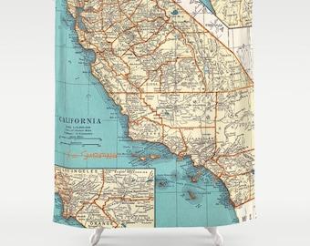 California Surf Map Shower Curtain   Surfing Map, Zuma, Newport, Trestles,  San