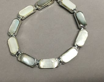 Signed Monet Silver Tone with Mother of Pearl Bracelet Link 7 1/4""