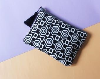 Geometric Monochrome, Black and White Mini Pouch