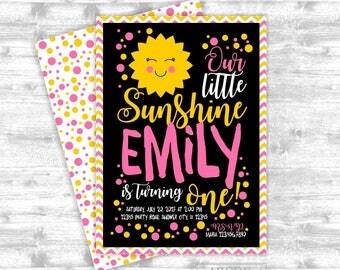 Girl Sunshine Pink Yellow Chevron Birthday invitation DIY Printable  (PDSU001)