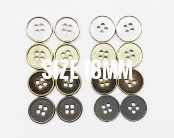 6 pcs, 18mm metal button, 4 holes, 28L