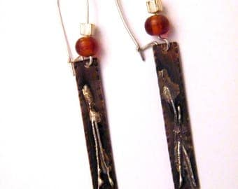 PROMOTION-20% - oxidized copper earrings silver melted beads gift idea for woman