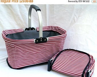On SALE Market Basket Red Stripe | Monogrammed Canvas Tote Organizer | Personalized Bridesmaids Gift | Collapsible Folding Shopping Bag