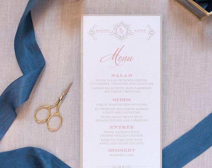 4x8 Coral, Navy Blue & Gold Formal Printed Wedding Menu