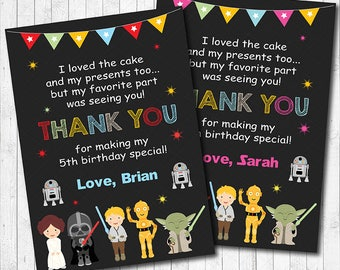 Star Wars Thank you Card, Star Wars thank you note, Star Wars thank you tags, Star Wars birthday, Star Wars party, printable