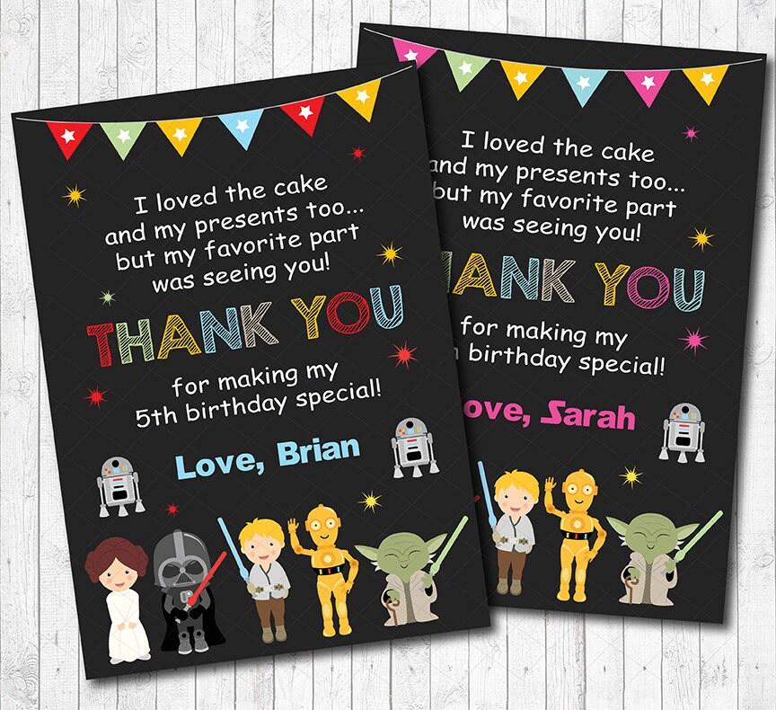 Star Wars Thank You Card Star Wars Thank You Note Star Wars - Star wars birthday invitation maker