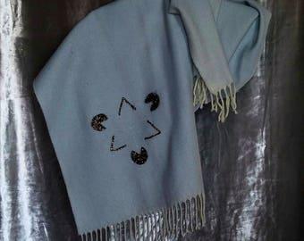 SKY blue POLYESTER scarf Kanizsa star print