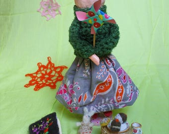 papier mache hand-made artistic/collectable doll (puppet) with accesssories and cat
