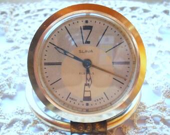 Vintage Soviet Clock Slava /USSR/Russian Alarm Clock/ Retro Working Clock/Soviet Desk clock/Small Clock/1970s