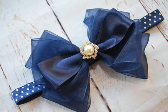 Special occasion navy bow headband - Baby / Toddler / Girls / Kids Headband / Hairband / Hair bow / Barrette / Hairclip