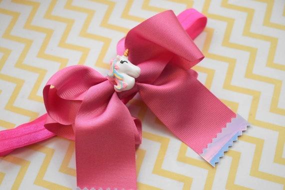 Unicorn pink grosgrain long tail cheer bow - Baby / Toddler / Girls / Kids Headband / Hairband  / Barrette / Hairclip / Easter