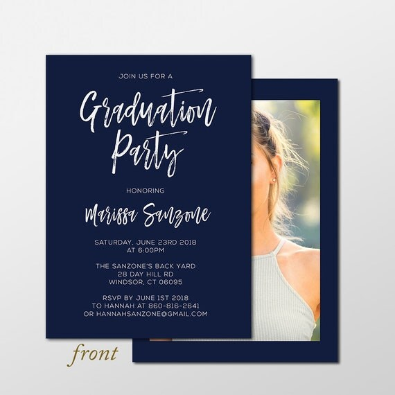 graduation party invitation navy blue graduation party invite