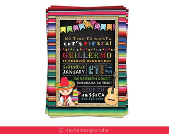 Let's Fiesta Birthday Invitation - 7x5 - Custom Made - Party Invitation