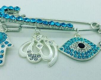 Allah stroller pin, Allah hamsa pin, Allah evil eye pin, stroller pin, hijab pin,  muslim baby gift, evil eye pin,  baby shower gift