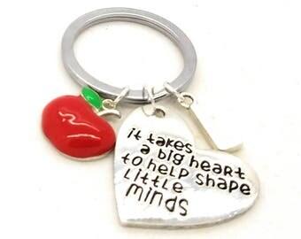 Teacher keychain, initial teacher keychain, it takes a big hear to help shape little minds keychain, teacher gift, teacher thank you gift