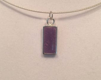 Purple Rectangle Resin Charm Necklace