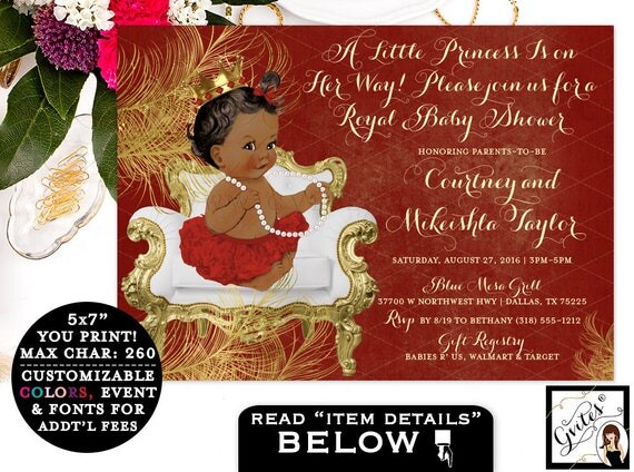 Red and Gold Baby Shower Invitations, princess african american baby girl, digital invitation, a little princess on the way, white gold 7x5