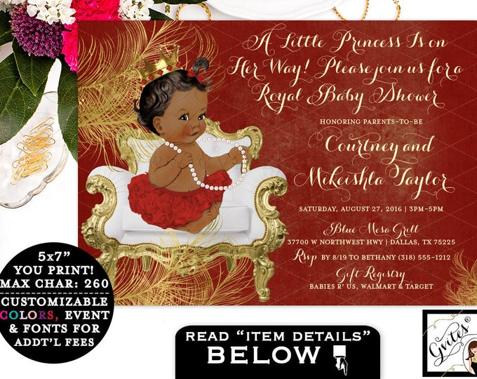 Baby Shower Red Gold Invitations, princess african american baby girl, digital invitation, a little princess on the way, 7x5