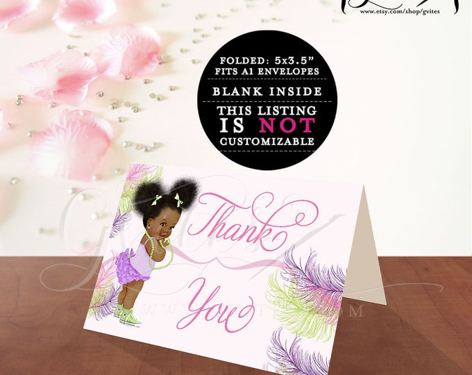"""Thank you card baby shower or birthday baby girl, thank you notes template  African American afro puffs PRINTABLE. 5x3.5""""/2 Per/Sheet"""