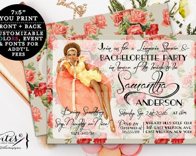African American Pin Up Girl Invitation - Bachelorette party invites, lingerie shower, bridal shower, girls night out, wedding shower, 7x5