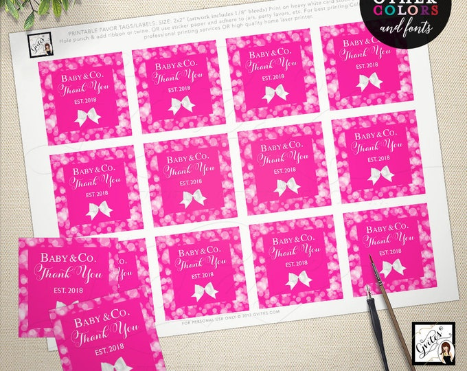 "Hot pink thank you tags, baby and co printable favors labels toppers decorations, party thank you girl shower, birthday. 2x2"" 12 Per Sheet"