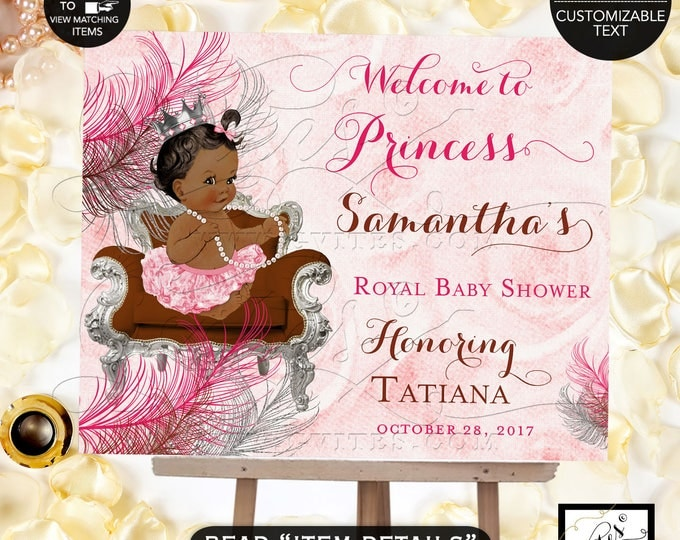 Pink and Brown WELCOME SIGN Baby Shower, Princess African American, Pink Silver Chocolate Brown, Silver Crown, Vintage DIGITAL. #BSC6CPB