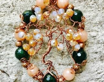 Jade & Agate Tree of Life Pendant