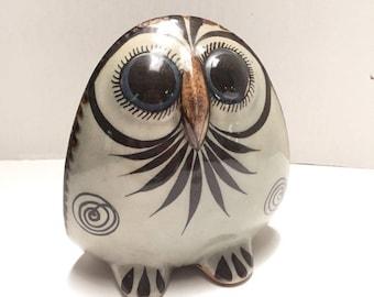 BIG Eye OWL Ken Edwards KE Vintage Tonala Figure Statue Mexico Folk Art Pottery