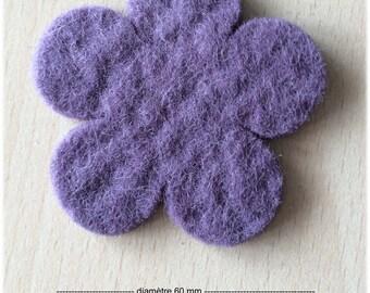 pretty small 60 mm dark purple felt flower