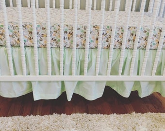 CRIB SKIRT - Solid Sweet Mint - Straight Box-Pleat, Gathered, 3-Tier Ruffle Crib Skirt