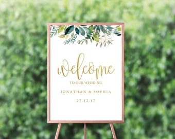 Printable wedding welcome sign - Welcome to our wedding - welcome to our wedding sign - greenery welcome to our wedding sign
