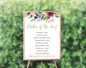 Order of the day Wedding Sign, Printable Wedding Sign, Printable sign, Wedding day timeline, Burgundy and gold wedding timeline sign