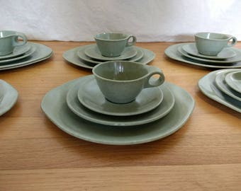 Russel Wright Residential Dinnerware Service for Six, Sea Mist Grey