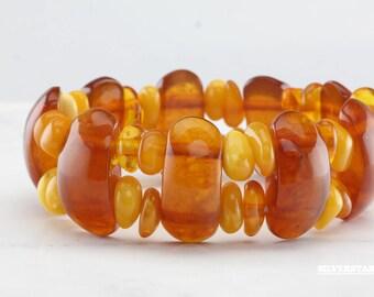 Natural Baltic Amber Bracelet Cognac and Butterscotch Color Yellow Orange