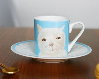 Blue 'Mr Marmalade' Fine Bone China Espresso Cup and Saucer by Giddypup