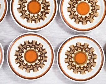Vintage Side Plates / Set of 8 Aztec Haniwa Stone Genuine Stoneware / Made in Japan / Geometric Design Earthtone Orange Brown Primitive