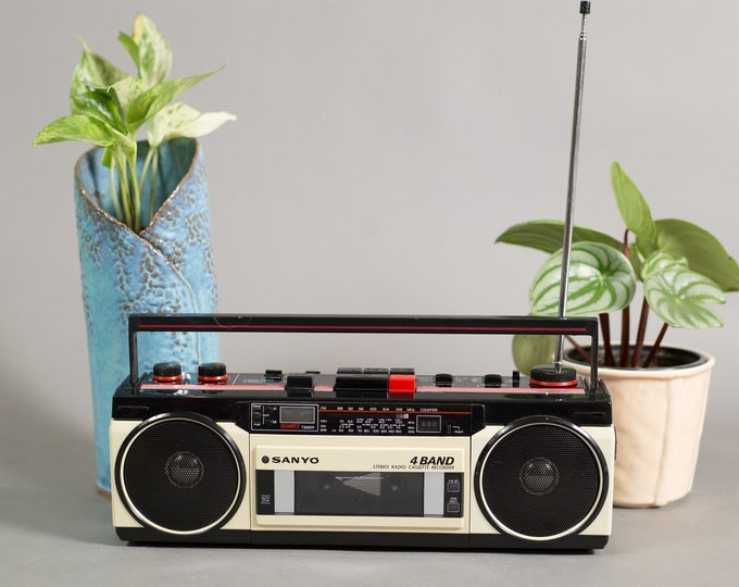 Vintage Sanyo Stereo Radio Cassette Recorder -  4 Band AM/FM Stereo with Quartz Timer and Clock - Model No. M-S350K