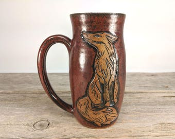 Fox Mug 16oz  - Fall Coffee Mug Mugs - Unique Pottery Coffee Mugs - Statement Mug - Nature Lover gift - Cute Teen Girl Gift - Mesiree