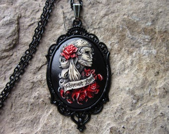 Forever Love Skeleton Woman (Hand Painted) Cameo Pendant Necklace - Halloween - Goth - Goth Wedding