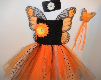 ORANGE MONARCH! Fairy-Princess Costume, size 3-6!  with Wings, Headband, Magic Wand! Affordable and FUN!