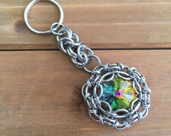Swarovski & Chainmaille Keychain--Stainless Steel...(wholesale pricing)