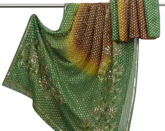 Free Shipping Indian Vintage Georgette Sari Green Decorative Fabric Hand Beaded Craft Fabric Used Saree 5YD GR6645