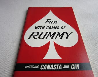 Vintage 1963 Fun with Games of Rummy, Canasta, Gin, Old Fashioned Card Games, Instruction Book, Retro Entertaining, Cocktail Party,Reference