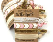 Bridesmaid Gift | Will You Be My Bridesmaid | Bridesmaid Proposal | Help Me Tie The Knot | Bridesmaid box | Bachelorette Hair Tie Favors