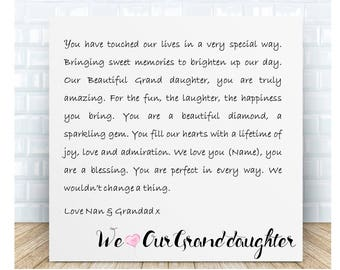 Personalised Grand daughter Word Art Ceramic Plaque