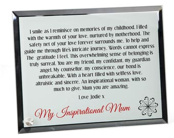 Mother Poem Personalised Glass Plaque - Inspirational Mum