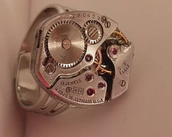 USA vintage Waltham Watch movement ring