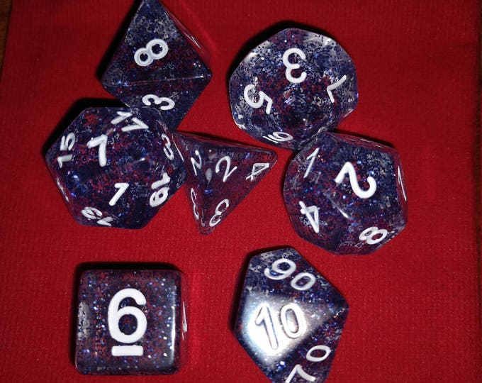 Blue Glitter - 7 Die Polyhedral Set with Pouch