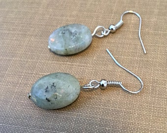Oval Labradorite Drop Fish Hook Earrings