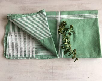 Vintage Small Green & White Tablecloth